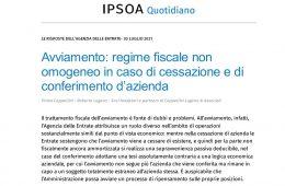 Avviamento,regime fiscale non omogeneo-home page